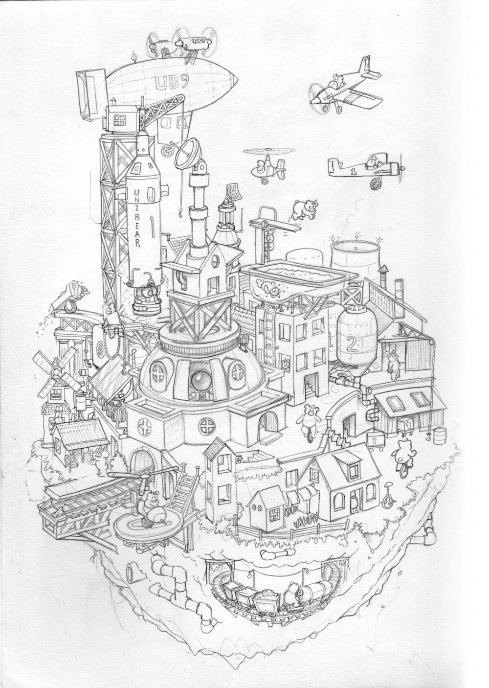 """My nephew always asks me to draw with him. Specifically, he wanted to draw a city. OK! There was a time I was about his age when I would practically run home from school to watch  The Secret City , this great educational drawing show on the Buffalo PBS station. The host would draw all these great futuristic cities populated by one-horned bears called, appropriately, """"Unibears"""". I actually learned a lot about drawing from The Secret City. In my tribute to Commander Mark and his eradicator (eraser), we populated this city with Unibears too. My nephew loves this drawing."""