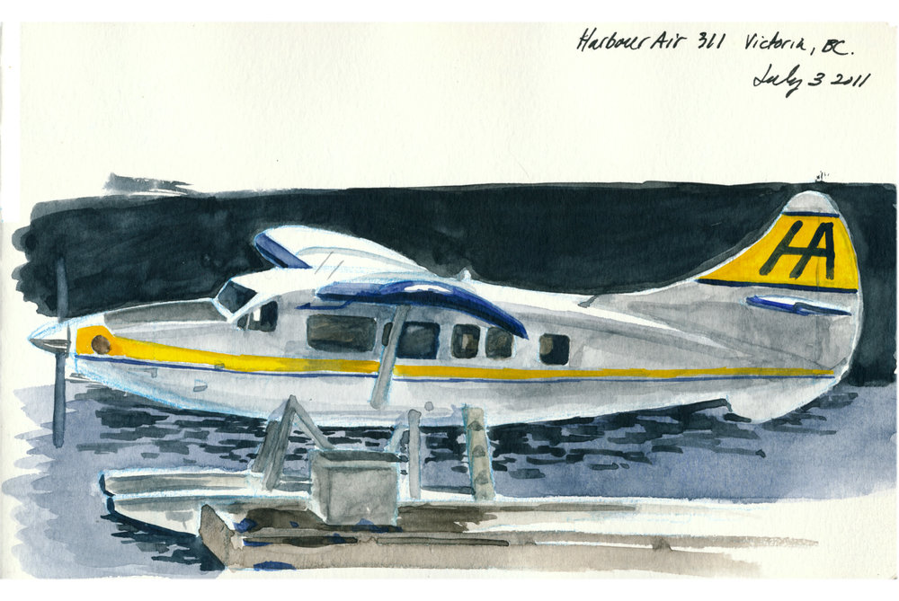 """My brother and I were in Victoria a few years ago visiting our Uncle Mike. We stopped by the inner harbour for some lunch and sunshine, and, since my brother is a bit of sketchy fellow himself, we both sat down and started painting. I showed this painting to a friend of mine and she said, """"Hey I know the pilot of that plane!"""""""
