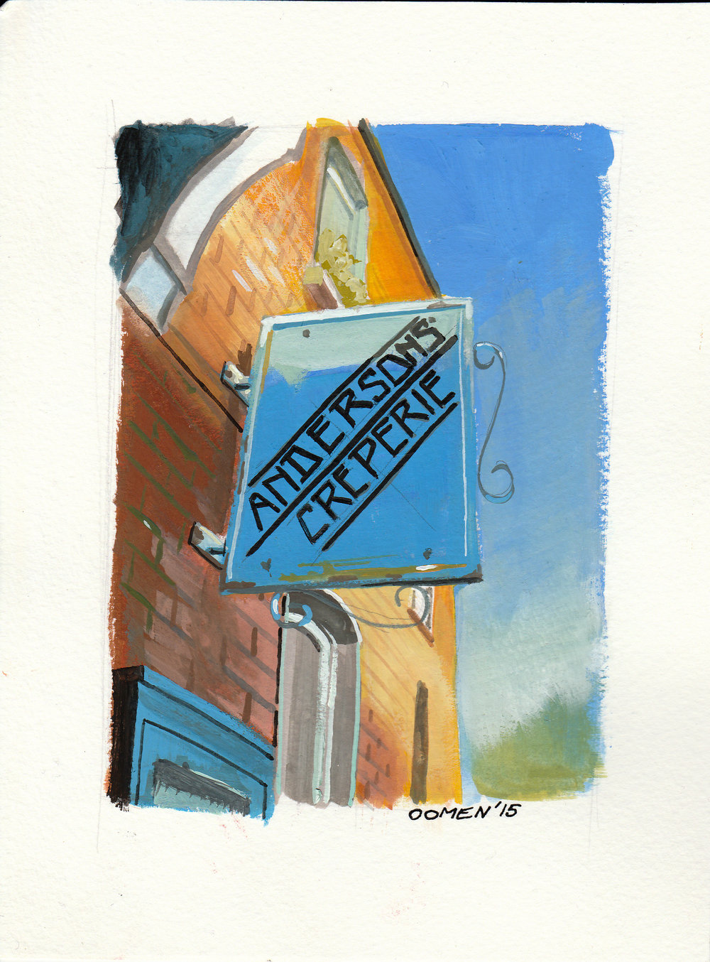 Just up the street from where we lived in Dublin there was a great creperie called Anderson's. One of Drumcondras best little gems, they serve delicious crepes and waffles with excellent coffee. I did this little painting and sent it back to my wife when she had gone back to work in Canada.