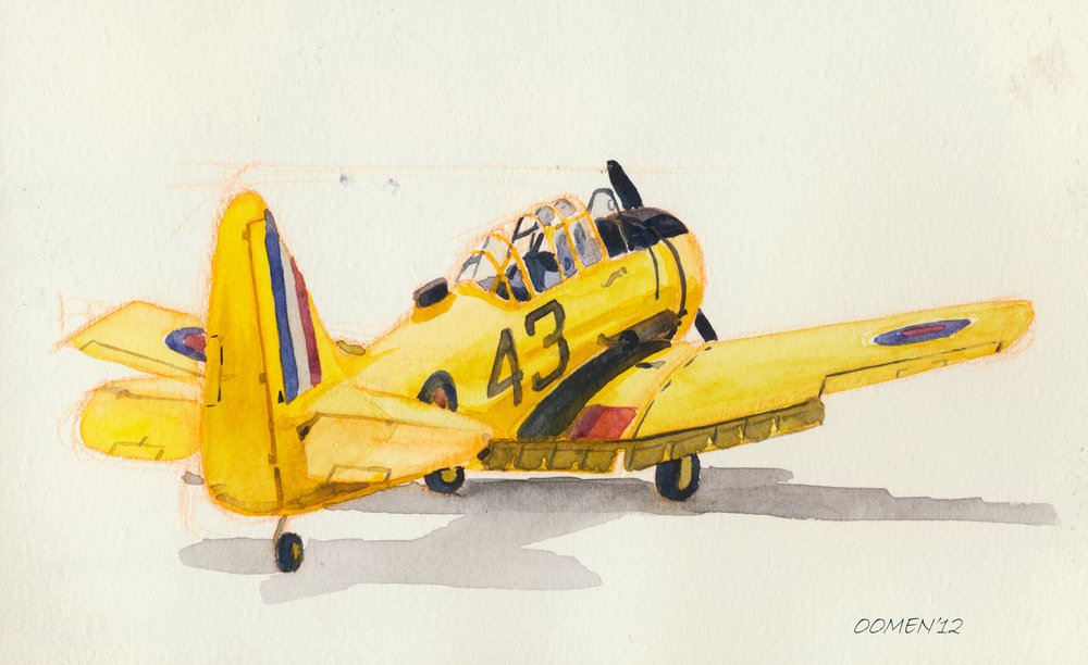I parked myself at the local airshow one day to doodle planes and settled down to do a quick sketch of this little yellow Harvard. The pilot came over and aksed my why, when he was parked next to all sorts of jets, I chose this little propellor plane. I said that this one was more interesting - and it was yellow. Secretly, though, I figured I had a greater chance of being offered a ride in this one than the F-20 parked next to it.