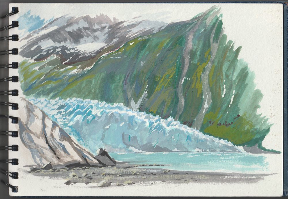 """The face of Harriman Glacier is so tough to paint! I always have trouble with the greens of forests at best of times, but couple the greens of the hillside beyond and the iridescent blues of the ice was pretty difficult. Casein on paper. Co-ordinates: 60°58'12.0""""N 148°25'36.3""""W"""