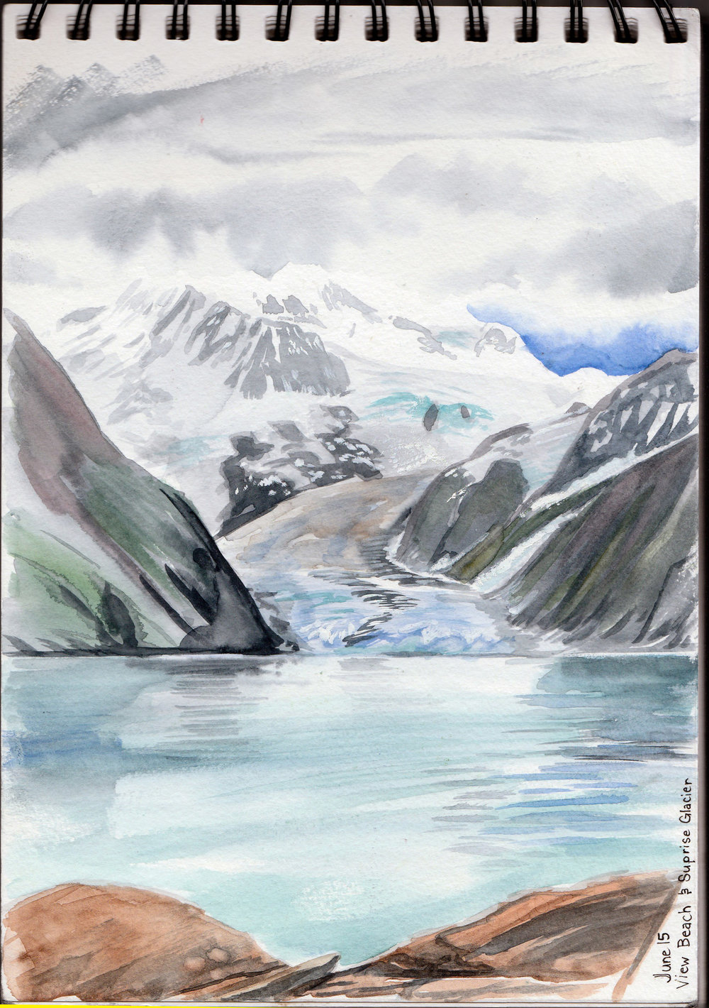 """View Beach across to Surprise Glacier. The fjord was like glass and the silence was incredible. If we could have stayed out for another few days, I don't think I would have ever tired of seeing this. Watercolour. Co-ordinates: 61°02'08.9""""N 148°18'48.7""""W"""
