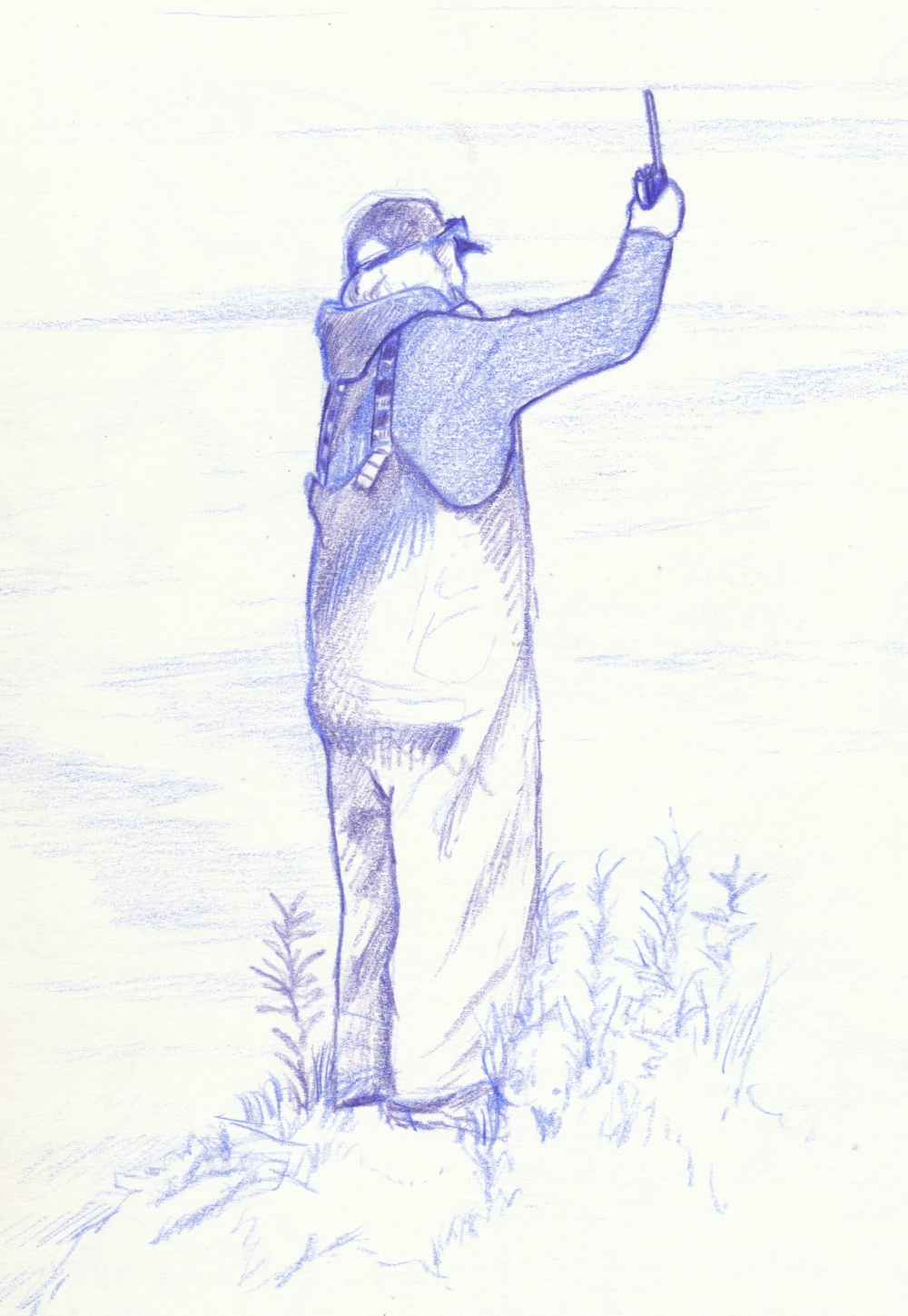 Sketch of USFS Ranger Barbara Lydon standing on a high point to get a weather report on the radio.