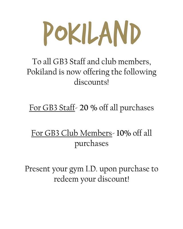 Attention all GB3 Members & Employees, we will now be offering this discount for you. All you have to do is show us your GB3 Membership ID and you're all set! We hope to see you soon  #poki #gb3 #gb3fresno #gb3clovis