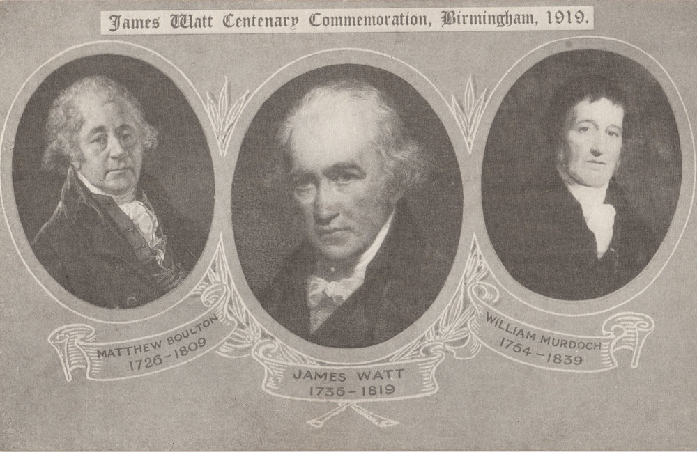 Matthew Boulton, James Watt and William Murdoch