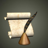 Scroll and Ink pot