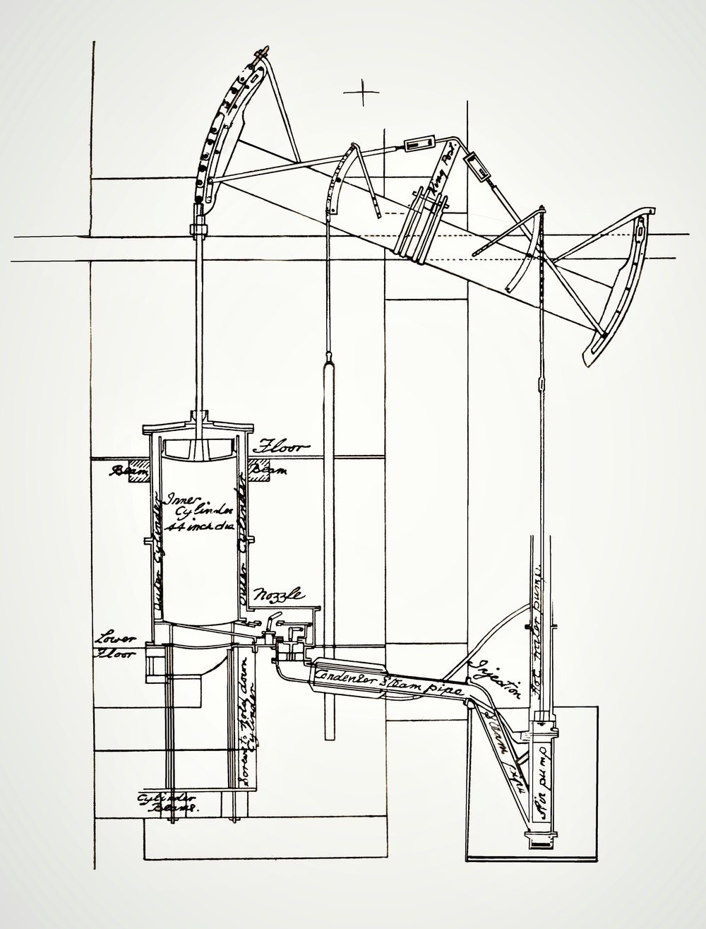 Drawing of an early Watt beam engine by Keith Hodgkins