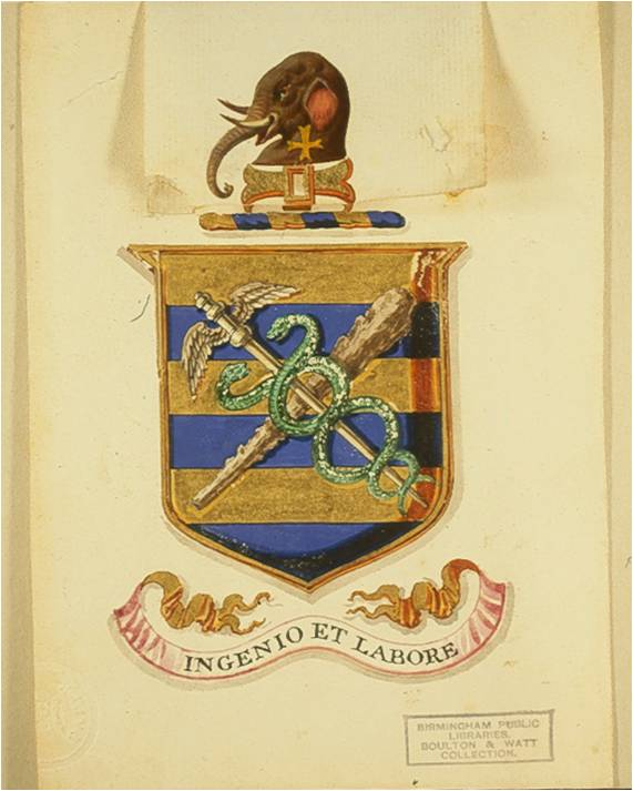 Design for the Watt family crest on the grant of arms obtained by James Watt junior, 1826  Reproduced with permission of the Library of Birmingham (MS 3219/6/145)