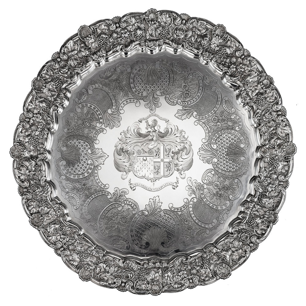 ANTIQUE 19thC GEORGIAN EXCEPTIONAL SOLID SILVER SALVER TRAY, J E TERREY c.1825
