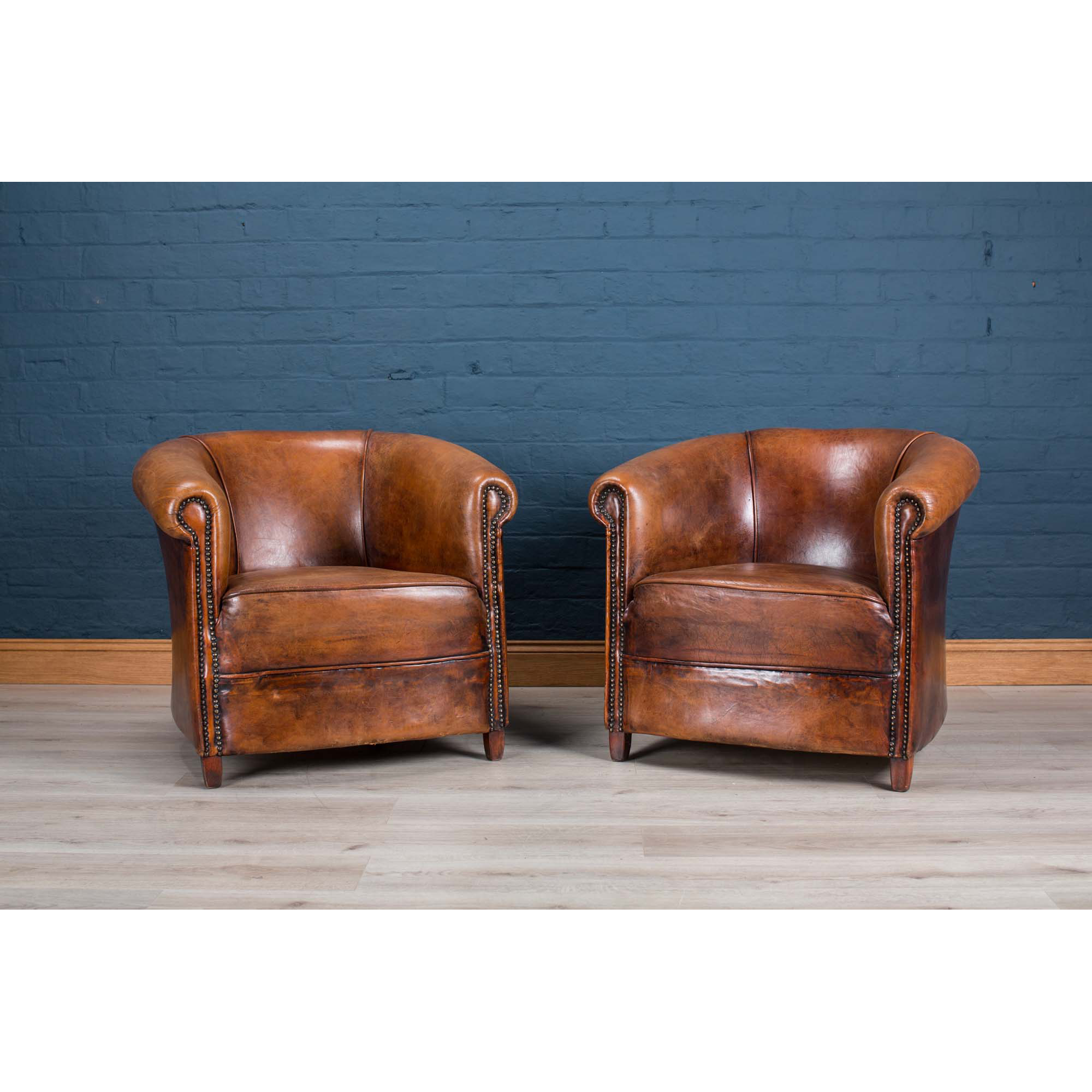 Pair Of Sheepskin Leather Tub Chairs, Holland, Late 20th Century ...