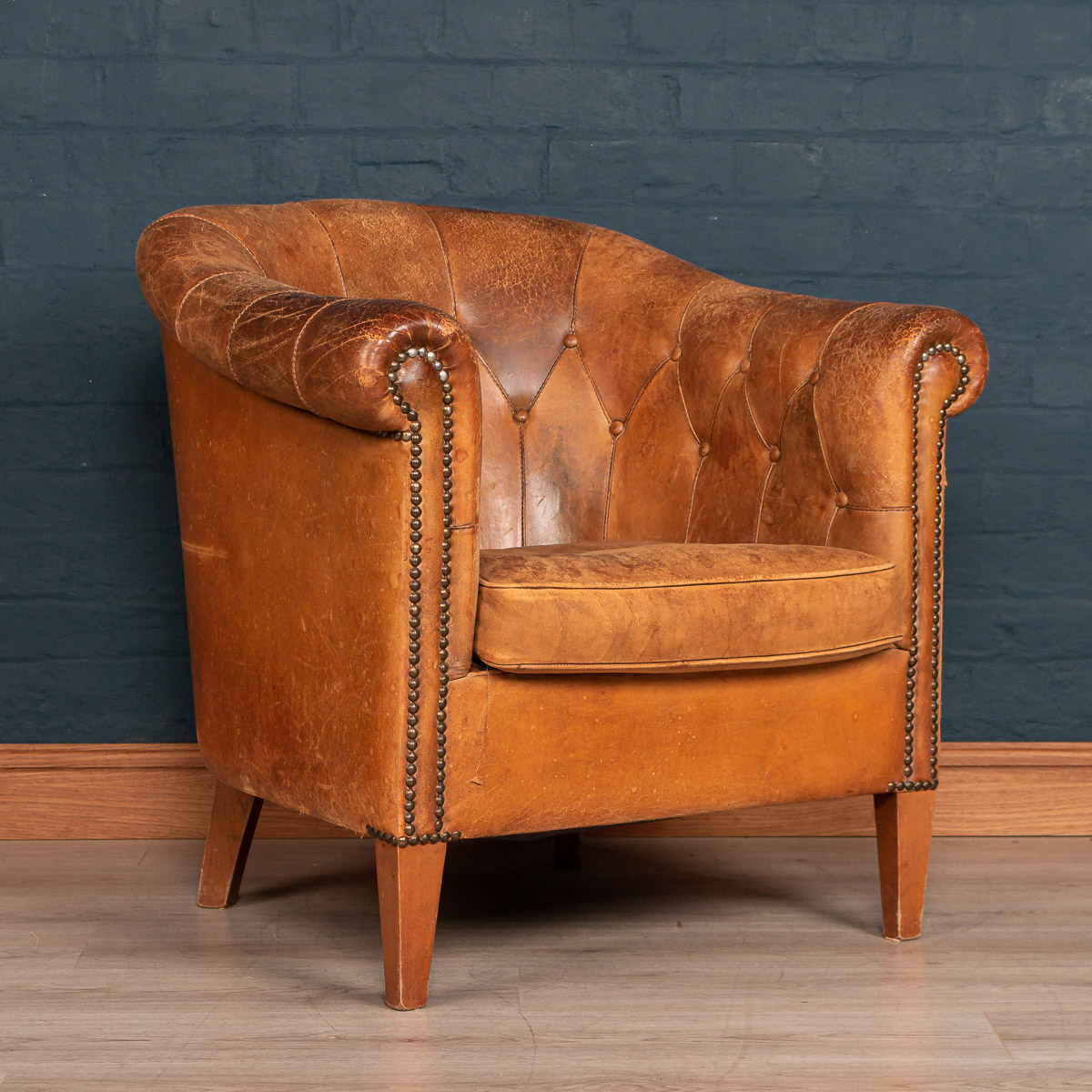 A Leather Button Back Tub Chair In Sheepskin Leather, Holland, Late 20th  Century ...