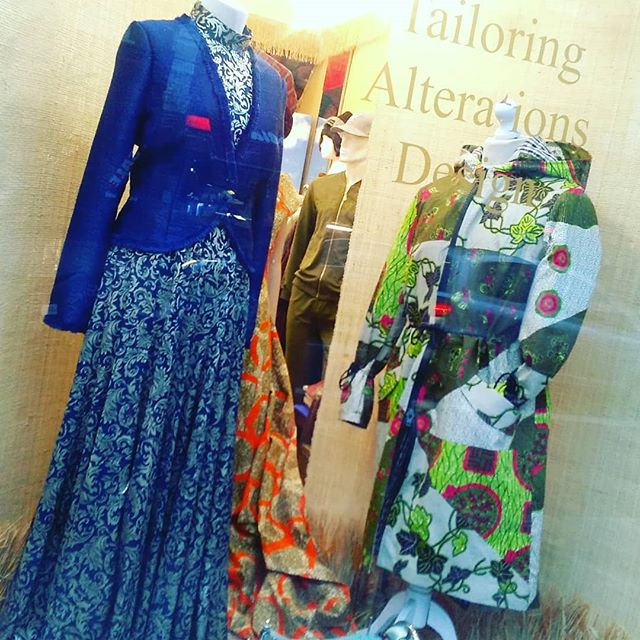 We have these #ladies in our #window #display today. To the left, our own version of #modest #chic and to the right, our take on a #cool #casual #winter. What can we make for you today?  #NoOneFamous #Design #Tailoring #Alterations #Dresses #Jackets #Style #Fashion #Womenswear
