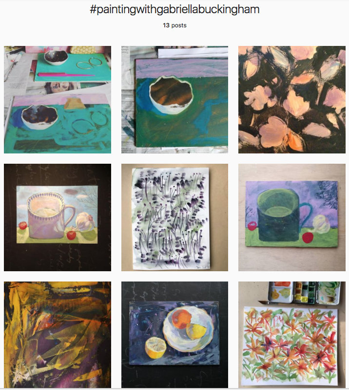It's been lovely to see other painters joining in too, this particular hash tag on instagram shows the work of Penny Lindop in the middle and bottom right. Penny is setting a time limit of 20 minutes each day and creating expressive, pattern like work.