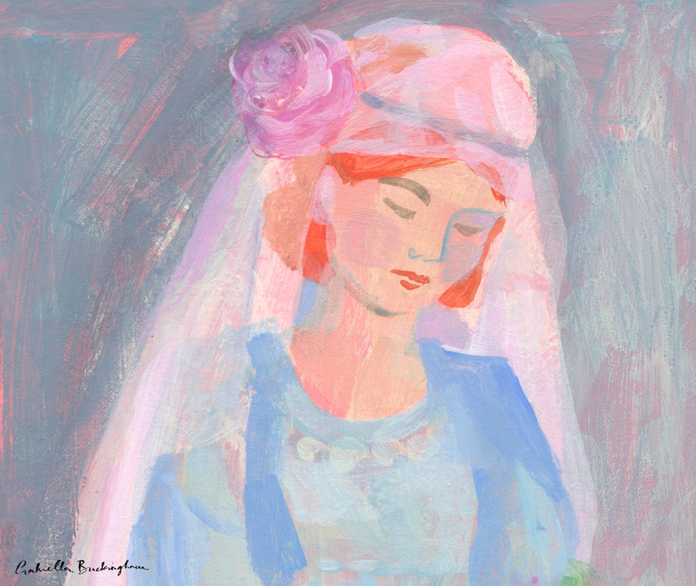 This is half a picture because I haven't finished the flowers below.. again an imagined image but it was an interesting exercise in colour for me.  I had an image of a bride from the early 1920s in my mind while creating this.. I think my great grandmother had a similar style veil.
