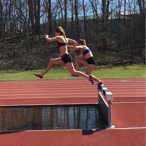 Liz Weiler over steeplechase barriers