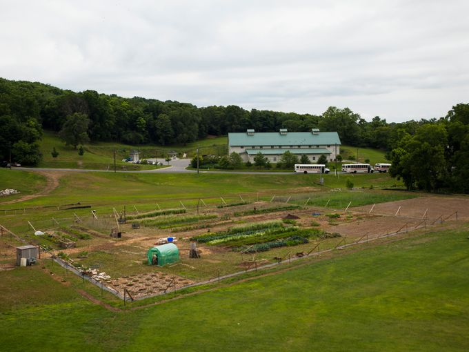 View of the VSDB farm early in its first summer.  One year prior to the time of this photograph, this all was a large gravel parking lot.  Ben and the team grew over 5000 pounds of produce that year (including over 1000 pounds of winter squash).