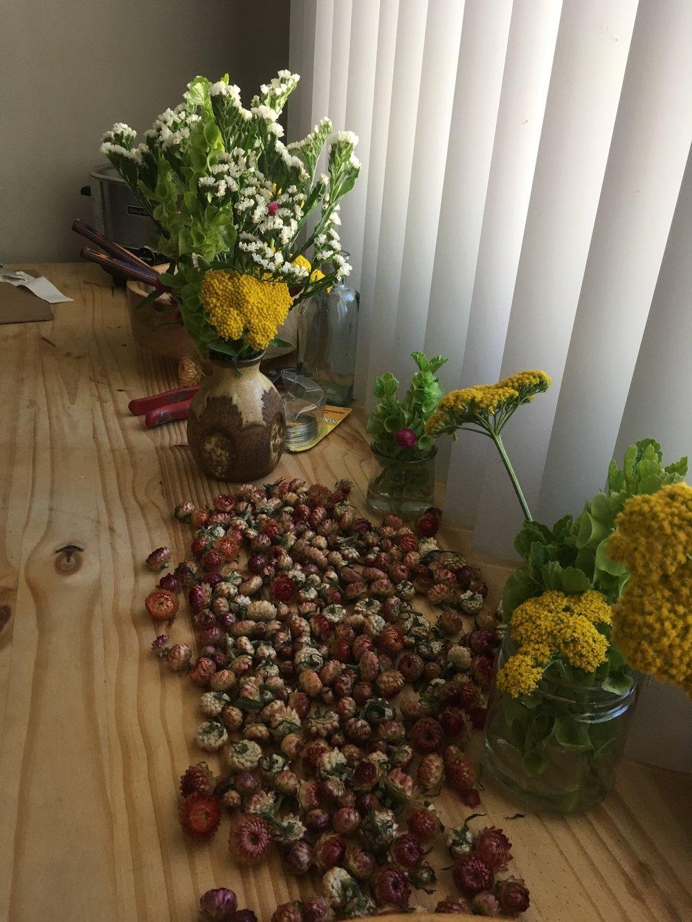 Strawflower, Yellow Yarrow, White Statice, and Bells of Ireland.