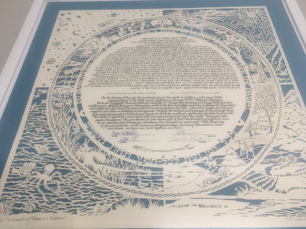 Ketubah, jewish marriage license.