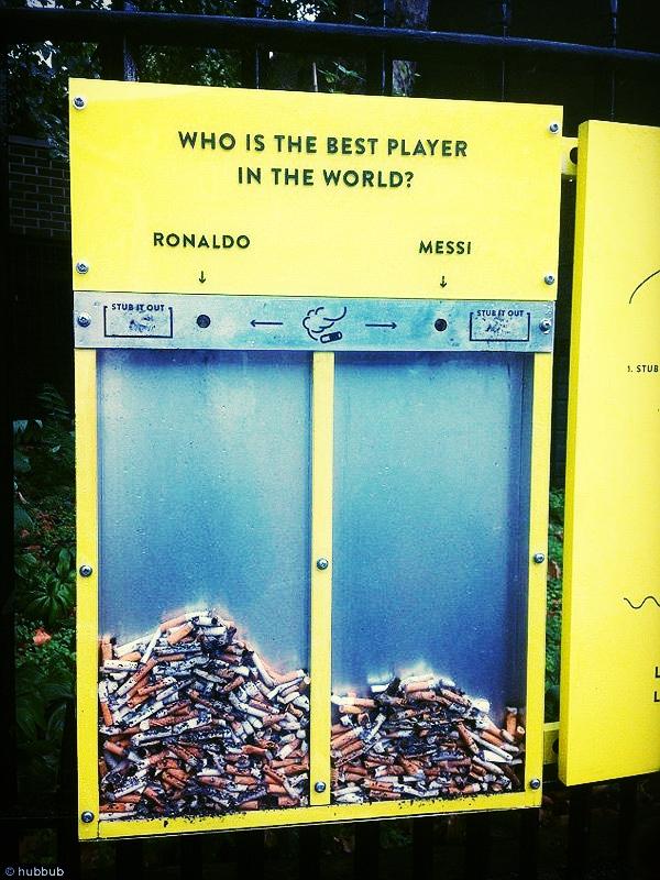 Une campagne de cendriers interactifs originale à Londres. Peut-être une extension du projet Mégot Zéro?