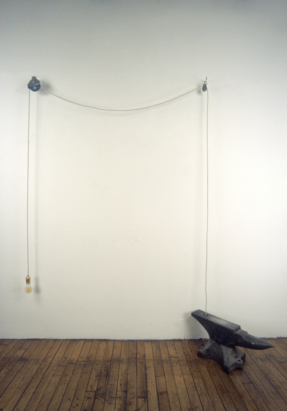 """It's Lightweight""  Light bulb, rope, pulleys, hooks and anvil  Dimensions variable   2001"
