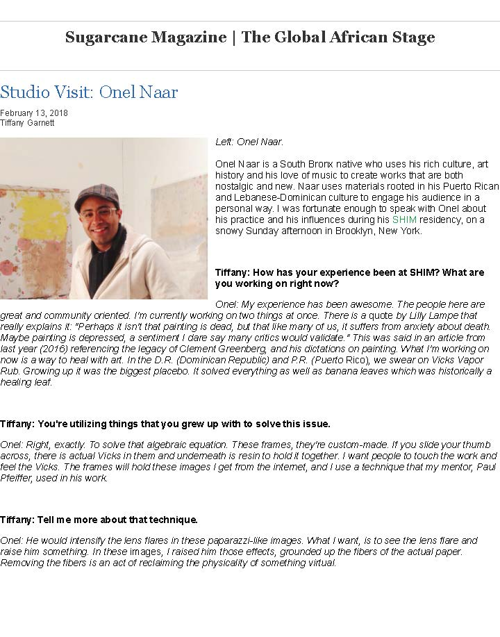 Sugarcane Magazine | The Global African Stage- Studio Visit- Onel Naar_Page_1.jpg