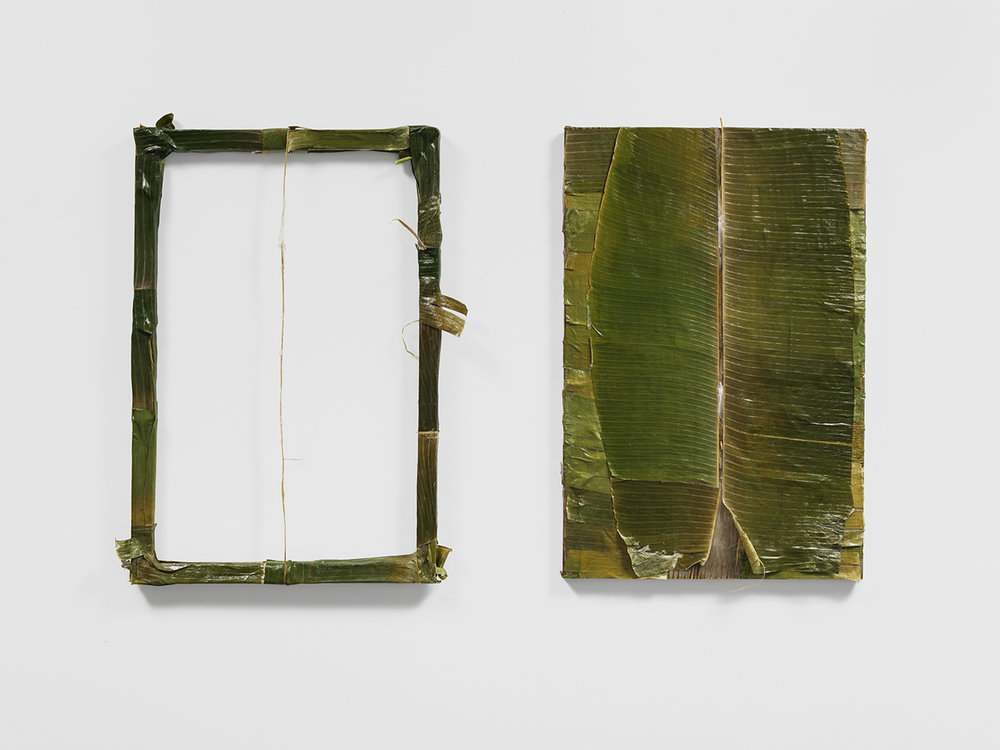"""Colgão Diptych""  petrolatum (Vicks VapoRub) on plantain leaves lined with resin,  36 x 24 in. each  2017"