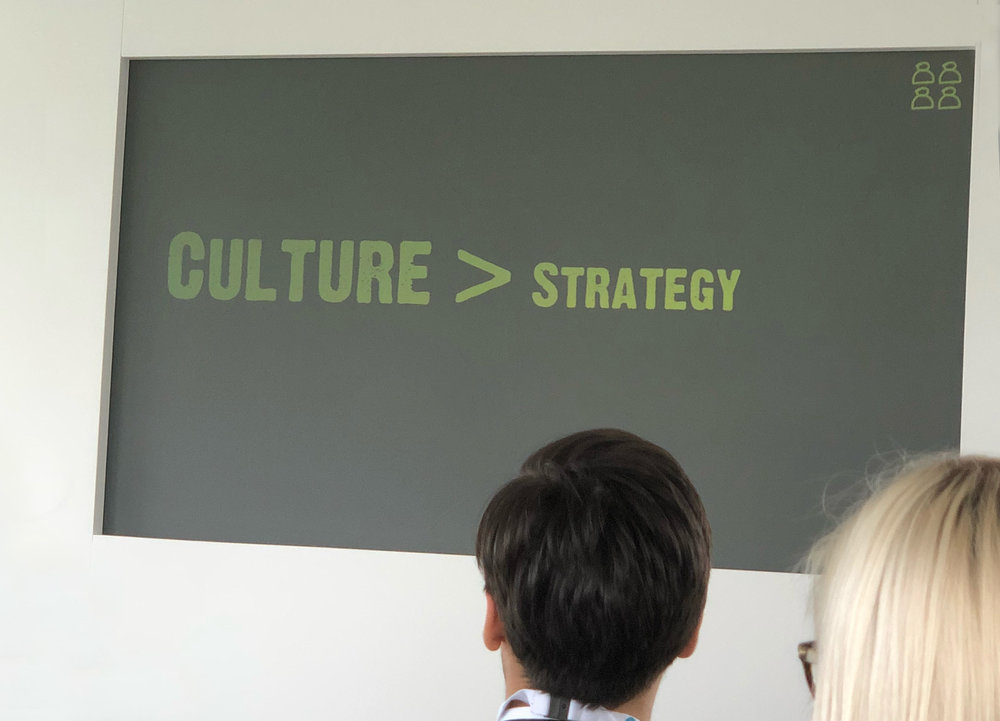 A presentation slide showing that culture is more important than strategy.