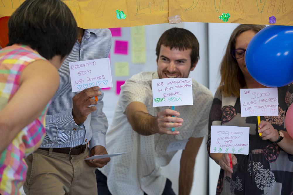 Show and tell of a team on the donor journey
