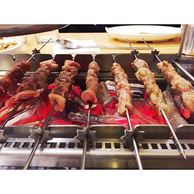 Lamb skewers in Sejong last night with excellent company. 😛