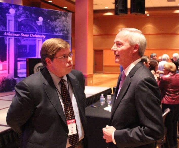 Post debate discussion with then candidate Asa Hutchinson at ASU in Jonesboro - Fall of 2014.