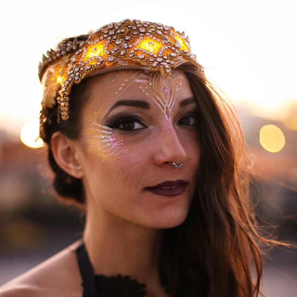 Sarakali Designs Crown yourself in glamour and light. Illuminate the night. One of a kind LED headdress. Meticulously handcrafted and custom imagined.   To learn more about Sarahkali Designs, please visit https://www.facebook.com/sarakalidesigns/