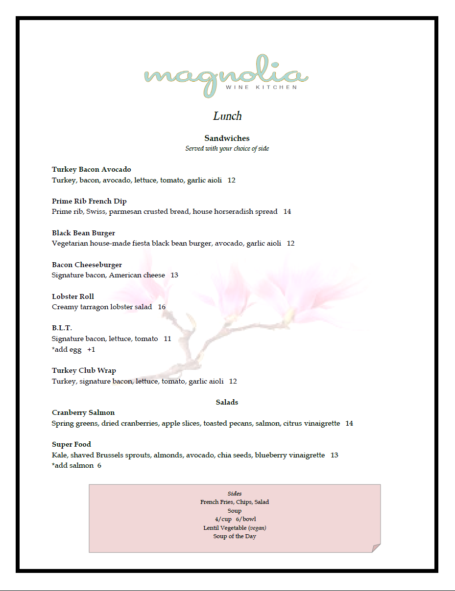 Magnolia Wine Kitchen Des Moines Menu