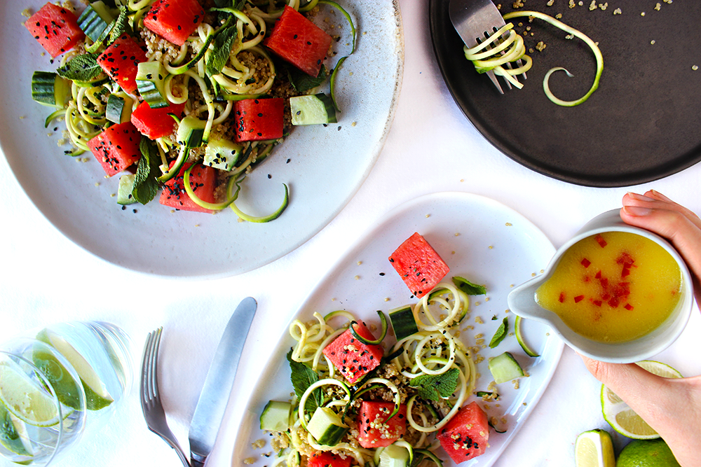 watermelon salad to be enjoyed in summer, perfect for sunny evenings