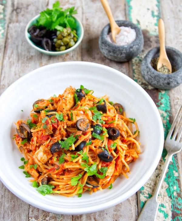 jackfruit puttenesca tomato pasta