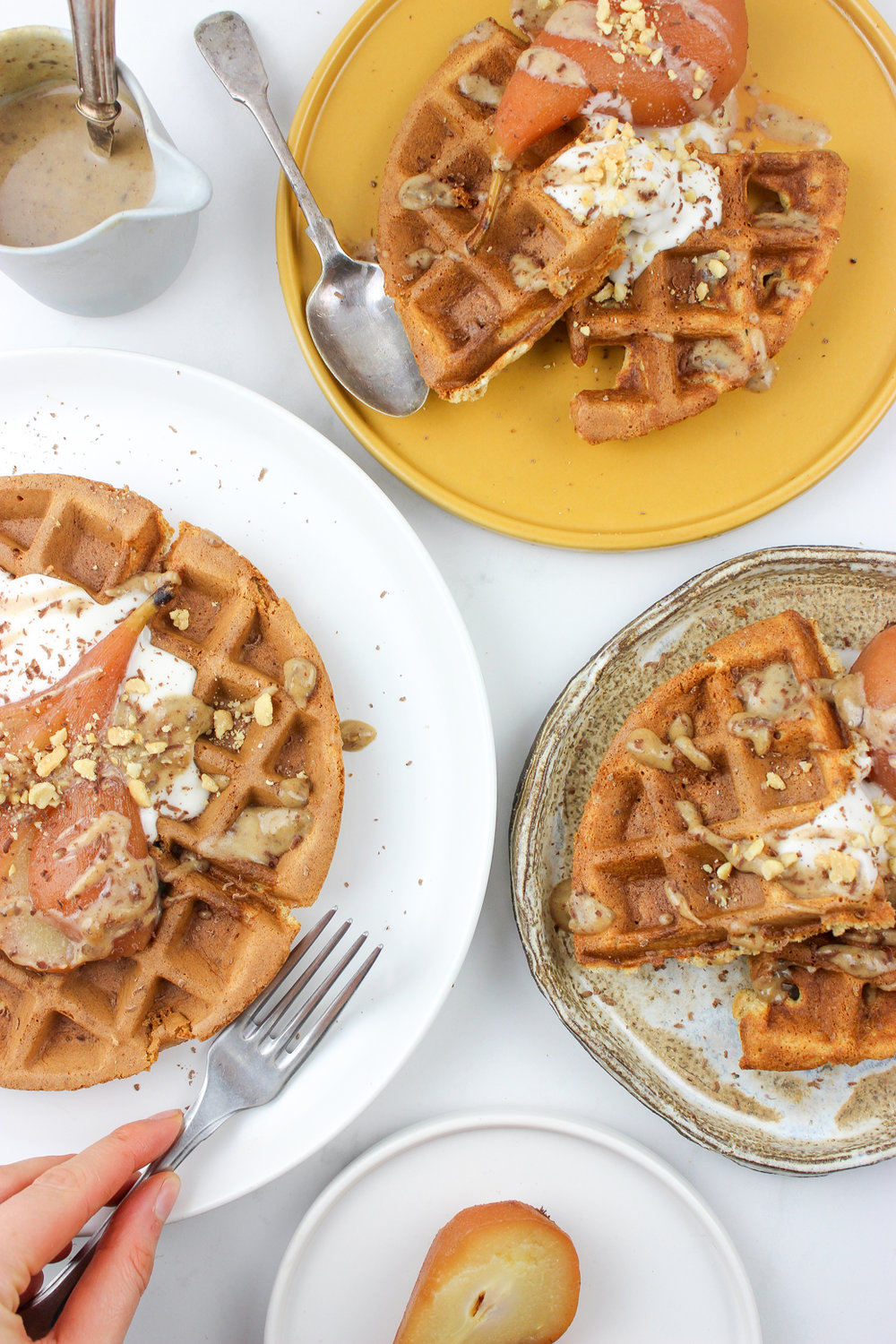waffles with poached pear gluten and dairy free