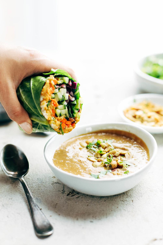 rainbow rolls with peanut sauce