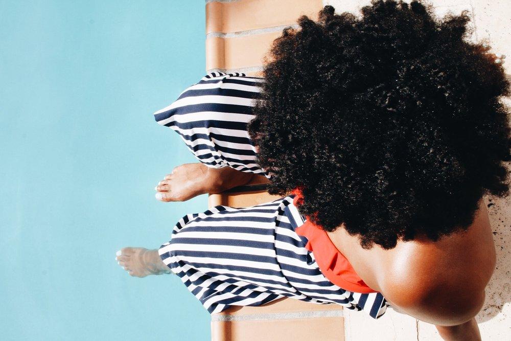 natural hair + pool + beach
