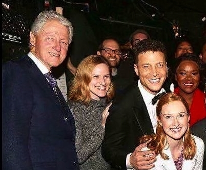 In Transit, Broadway, with President Bill Clinton, associate director Dave Eggers, Justin Guarini, Erin Mackey and Moya Angela)