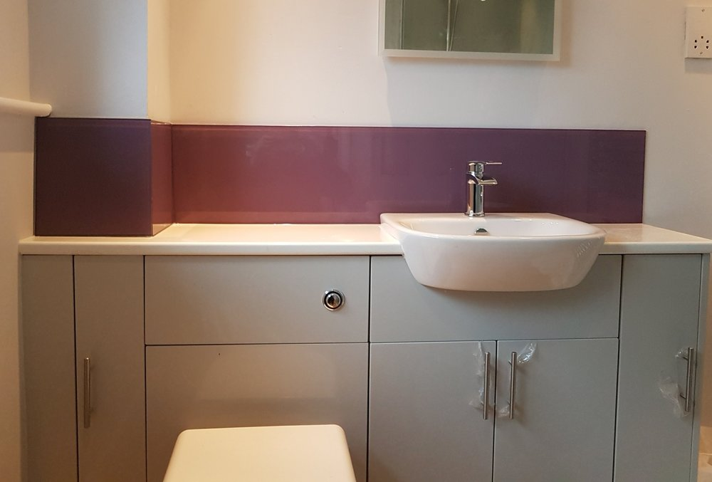 plum bathroom splashbacks AROUND basin area