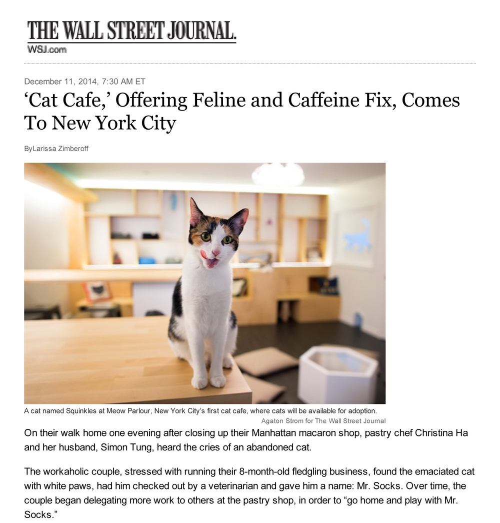 "Wall Street Journal    Dec 2014 ""The much anticipated Meow Parlour, New York City's first official cat cafe, will open Monday on Manhattan's Lower East Side....Inside the store, a custom-built wooden wall features hidden cubbies for cats to hide in.  A 'catwalk' for felines to roam has been installed near the cafe's ceiling. Nearly all of the furniture has cat shaped holes for the cats to crawl into."""