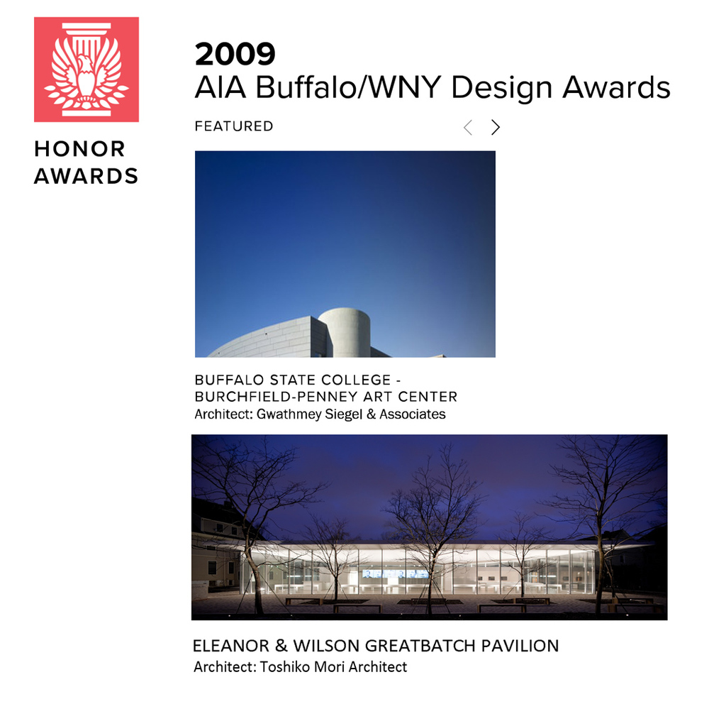 American Institute of Architects 2010 On behalf of Toshiko Mori Architect, Sonya Lee received the Architecture Merit Award for the Eleanor and Wilson Greatbatch Pavilion, for which she was the project architect.