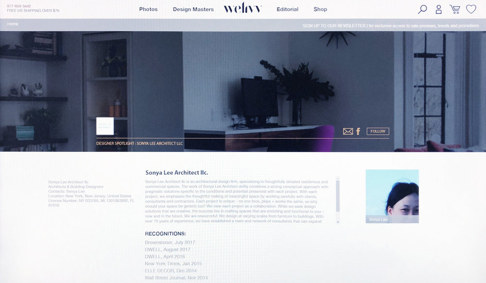 WeLivv   April 2018  Sonya Lee Architect and their body of work is featured on WeLivv as part of a Design Influencer program, which spotlights interesting and inspiring design projects and the creatives behind them.