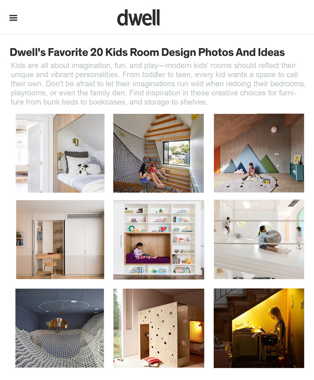"Dwell     Mar 2019  Dwell's Favorite 20 Modern Kids Room Design photos and ideas:  ""Kids are all about imagination, fun and play - find inspiration in these creative choices for furniture from bunk beds to bookcases and storage to shelves."""