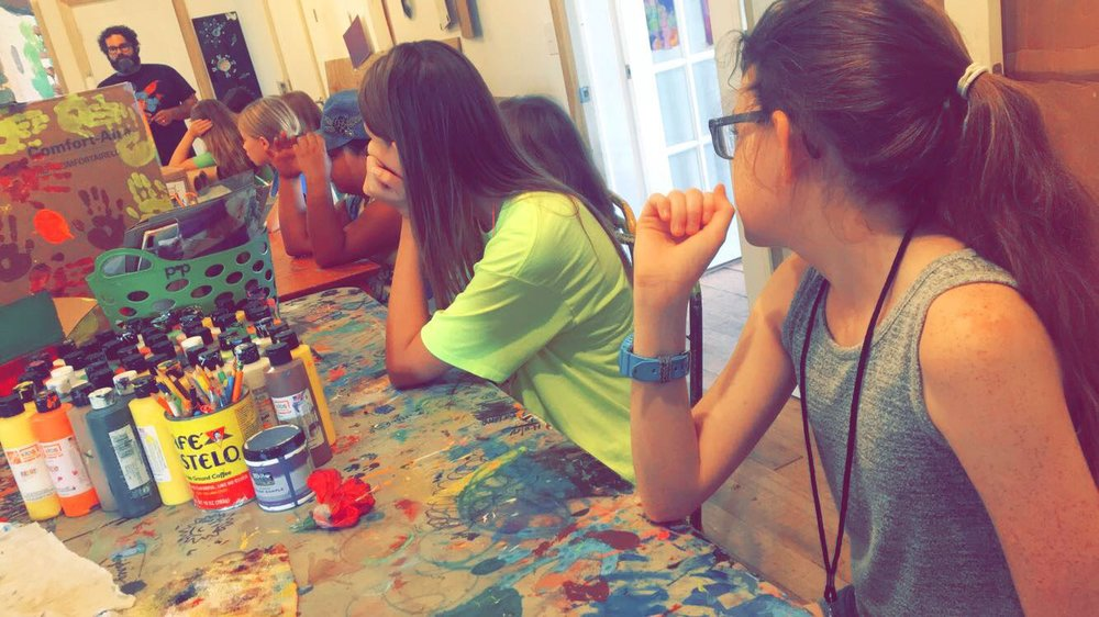 Art Factory students enjoying a class in painting and drawing by winthrop town artist, bryant martinez.