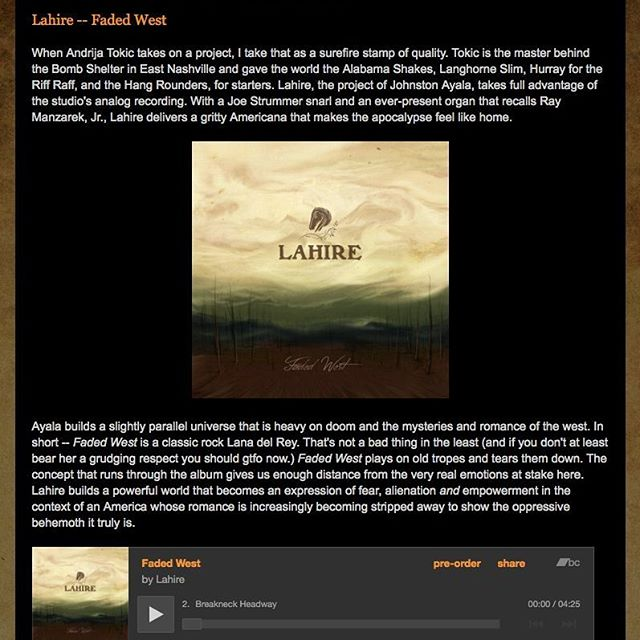 """Very cool review of Faded West . Thanks #adobeandteardrops ! """"Lahire builds a powerful world that becomes an expression of fear, alienationandempowerment in the context of an America whose romance is increasingly becoming stripped away to show the oppressive behemoth it truly is."""""""