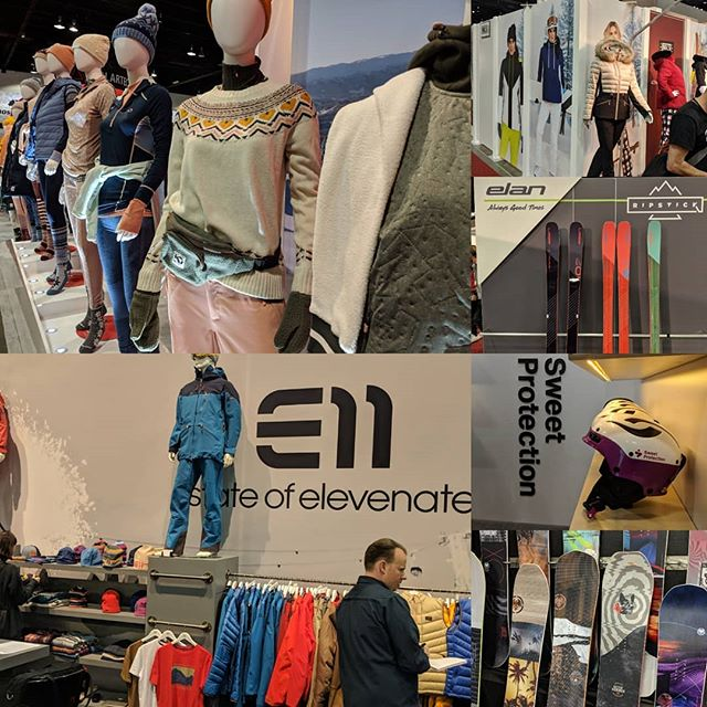 Just some goodies from Day 1 at the #outdoorretailer2019 show! *Don't forget to check out our stories for even more sneak peaks 👀 @sweetprotection @elanskis @karitraa @elevenate