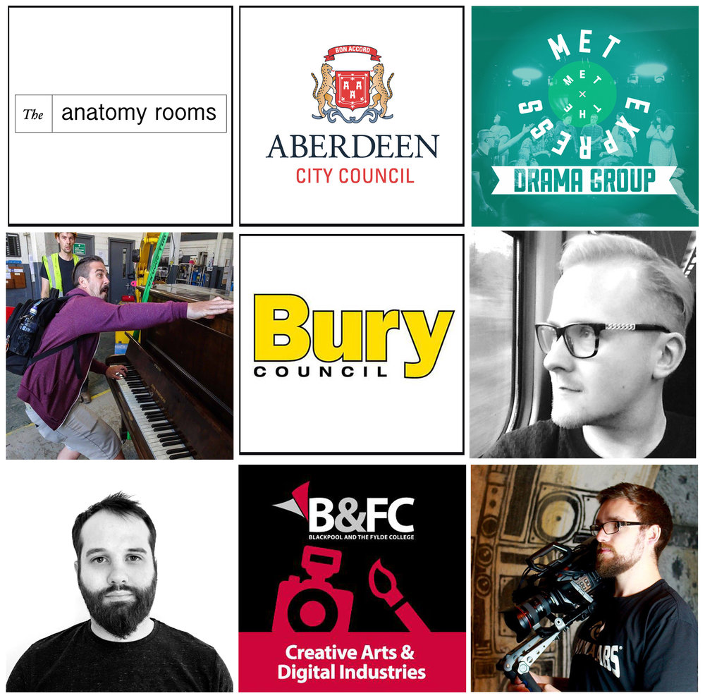 (From top left to bottom right): The Anatomy Rooms (Aberdeen), Aberdeen City Council, The MET Express Drama Group (Bury), Mark Jones (Sound Artist from Hull), The Adult Learning Centre (Bury Council), Garth Gratrix (Production Manager, Blackpool), James Condon (Animator, Manchester), Blackpool & The Fylde College, Calum McCready (Film Maker, Aberdeen).
