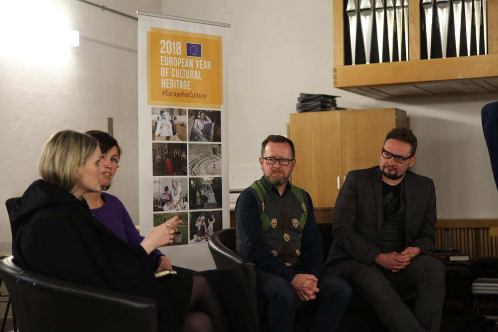 Andy Brydon (Director, SICC) and NATUR artists Jez Dolan, Marie Von Krogh and Dodda Maggý