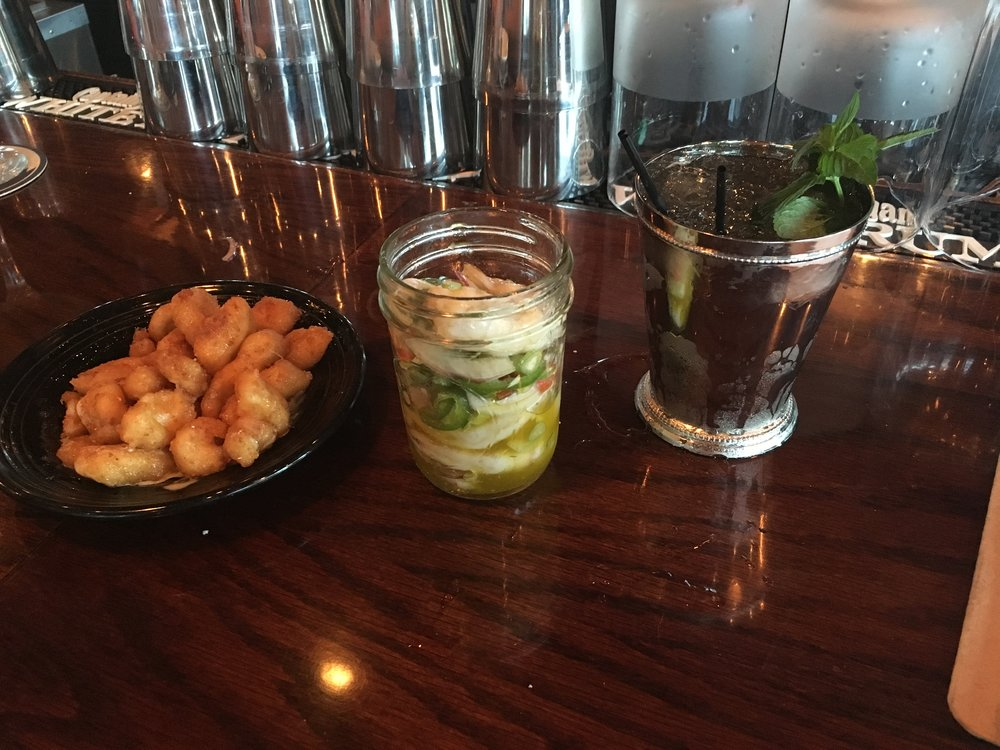 Pretzel crusted cheese curds with a mustard BBQ and buttermilk dressing and the pickled shrimp with jalapeno, bell peppers, dill and shaved fennel in olive oil with a Moscow Mule.