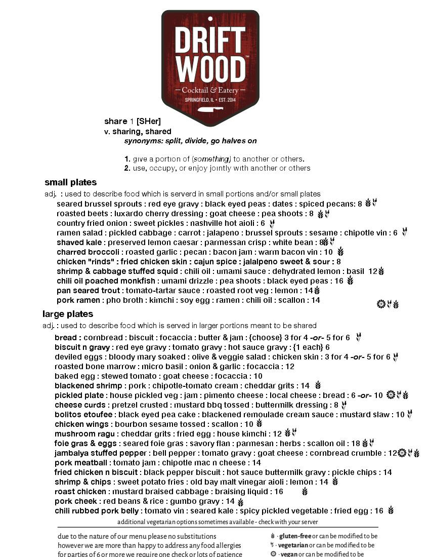 Driftwood Spring 2017 Menu